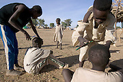 The Breidjing Refugee Camp, Eastern Chad on the Sudanese border shelters 30,000 people who have fled their homes in Darfur, Sudan. Young boys take turns cutting each other's hair in preparation for the festival of Eid al-Fitr, which marks the end of the month long fasting period of Ramadan. (Supporting image from the project Hungry Planet: What the World Eats.)