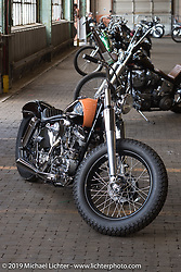 Eric Stein's 1964 Harley-Davidson FLH Panhead bobber built by Eric in his home garage at the Congregation Show. Charlotte, NC. USA. Saturday April 14, 2018. Photography ©2018 Michael Lichter.