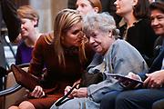Koning Willem Alexander reikt Erasmusprijs 2016 uit aan  aan Britse schrijfster A.S. (Antonia Susan) Byatt.<br /> <br /> King Willem Alexander awards the  Erasmus Prize 2016 to British writer A.S. (Antonia Susan) Byatt.<br /> <br /> Op de foto / On the photo: Koningin Maxima, A.S. (Antonia Susan) Byatt   ////  Queen Maxima, A.S. (Antonia Susan) Byatt