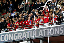 Zlatan Ibrahimovic of Manchester United lifts the EFL Trophy with his team mates - Mandatory by-line: Matt McNulty/JMP - 26/02/2017 - FOOTBALL - Wembley Stadium - London, England - Manchester United v Southampton - EFL Cup Final