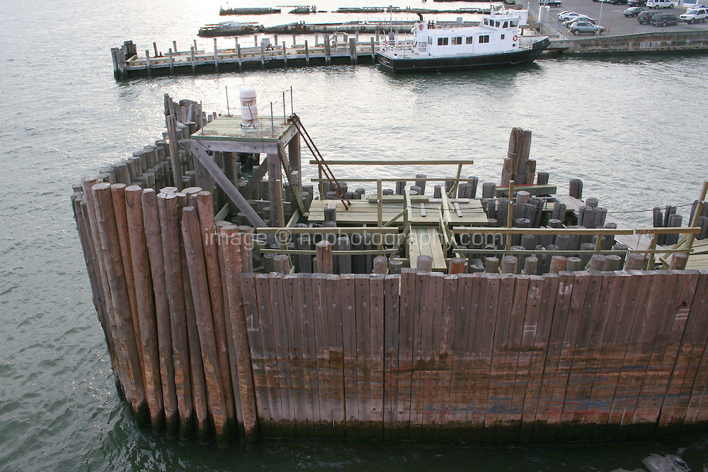 Pier at Staten Island Ferry port, New York, USA