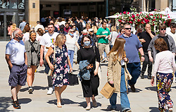 Edinburgh, Scotland, UK. 1 July  2021. Warm temperatures and sunshine attracted many members of the public to Edinburgh's outdoor cafes and bars and to the new St James Quarter shopping mall which opened last week. Pic; Shoppers flocked to the St James Quarter. Iain Masterton/Alamy Live News