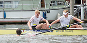 """Henley on Thames. United Kingdom.  Final of the Ladies"""" Challenge Plate. Supporter Swimmers , congratulate the . A.S.R. Nereus , after winning the final, then to be DQ'd later    2016 Henley Royal Regatta,   Sunday,  03/07/2016,   [Mandatory Credit /Intersport Images]"""