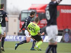 Hibernian's Jason Cummings scoring their goal. half time : Falkirk 1 v 1 Hibernian, Scottish Championship game played 31/12/2016 at The Falkirk Stadium .
