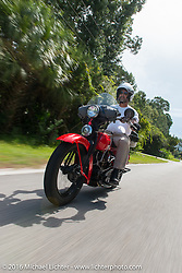 Vinnie Grasser riding his 1930 Harley Davidson VL during Stage 1 of the Motorcycle Cannonball Cross-Country Endurance Run, which on this day ran from Daytona Beach to Lake City, FL., USA. Friday, September 5, 2014.  Photography ©2014 Michael Lichter.