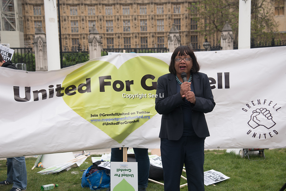 Speaker Diane Abbott demand justice for the Grenfell victims and survival and safer housing ahead Parliamentary Debate Rally on 14th May 2018 at Parliament Square, London, UK.