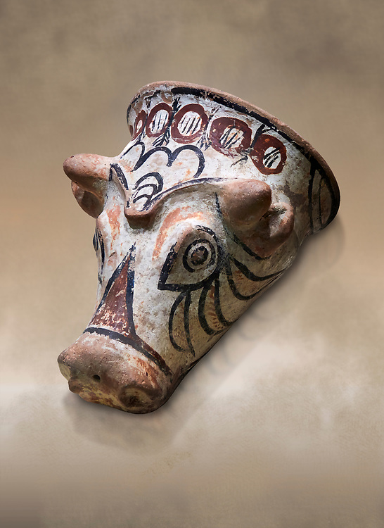 Phrygian terracotta decorated bull head shaped cult vessel. 8th-7th century BC . Çorum Archaeological Museum, Corum, Turkey .<br /> <br /> If you prefer to buy from our ALAMY PHOTO LIBRARY  Collection visit : https://www.alamy.com/portfolio/paul-williams-funkystock/phrygian-antiquities.html (TIP - Refine search by adding a suject or background colour as well).<br /> <br /> Visit our CLASSICAL WORLD HISTORIC SITES PHOTO COLLECTIONS for more photos to download or buy as wall art prints https://funkystock.photoshelter.com/gallery-collection/Classical-Era-Historic-Sites-Archaeological-Sites-Pictures-Images/C0000g4bSGiDL9rw