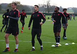 November 1, 2017 - London, England, United Kingdom - L-R Arsenal's Rob Holding Arsenal's Granit Xhaka and Arsenal's Alexandre Lacazette.during a Arsenal training session ahead of the UEFA Europa League Group H match against Red Star Belgrade (Crvena Zvezda)  at Arsenal training centre , London Colney on 1 Nov  2017 St.Albans, England  (Credit Image: © Kieran Galvin/NurPhoto via ZUMA Press)