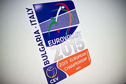 Logo of 2015 CEV Volleyball European Championship - Men, on October 17, 2015 in Arena Armeec, Sofia, Bulgaria. Photo by Vid Ponikvar / Sportida