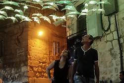 June 28, 2017 - Jerusalem, Israel - Visitors enjoy 'Fly' by Itzik Iluz of Israel. Jerusalem launched its 9th International Festival of Light displaying illuminated art installations created by local and international artists. (Credit Image: © Nir Alon via ZUMA Wire)