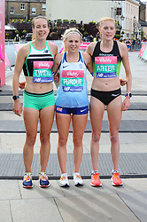 March 10, 2019 - London, United Kingdom - Stephanie Tweel, Charlotte Purdue and Charlotte Arter are seen crossing the finishing line during The Vitality Big Half, which has returned for a festival of running and culture to the heart of London in a celebration of the rich and wonderful diversity of the capital city and Finishing it at Cutty Sark. (Credit Image: © Terry Scott/SOPA Images via ZUMA Wire)