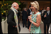 ROLF SACHS; MRS. GALEN WESTON, Cartier dinner in celebration of the Chelsea Flower Show. The Palm Court at the Hurlingham Club, London. 19 May 2014.