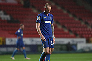 AFC Wimbledon midfielder Mitchell (Mitch) Pinnock (11) red card, sent off during the EFL Sky Bet League 1 match between Charlton Athletic and AFC Wimbledon at The Valley, London, England on 15 December 2018.