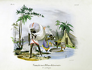 Washerwomen.  Hand-coloured lithograph from 'L'Inde francaise', Paris, 1828. Laundresses at work in a stream. Man carrying away a bundle of clean laundry. Hygiene