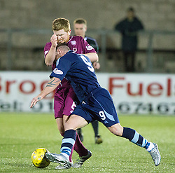 Arbroath's Ryan McCord, Forfar Athletic's David Cox. Forfar Athletic 0 v 1 Arbroath, Scottish Football League Division Two game played 10/12/2016 at Station Park.