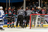 KELOWNA, CANADA - NOVEMBER 23: The Kelowna Rockets' get in the face of the Victoria Royals after the whistle on November 23, 2018 at Prospera Place in Kelowna, British Columbia, Canada.  (Photo by Marissa Baecker/Shoot the Breeze)