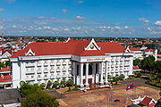 High angle view of the Office of the Prime Minister, taken from the Patuxay Monument, Vientiane, Laos.