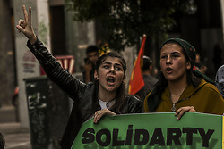 """Kurds living in Greece shout slogans during a protest near the Turkish embassy in Athens, on October 12, 2019. Turkey launched an assault on Kurdish forces in northern Syria with air strikes and explosions reported along the border. President Recep Tayyip Erdogan announced the start of the attack on Twitter, labelling it """"Operation Peace Spring"""".<br /> <br /> Pictured: <br /> Dimitris Lampropoulos  