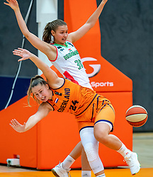 Laura Westerik of the Dutch basketball team in duel with Angelika Kiss of Hungary during a European Championship qualifier.