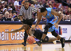 December 16, 2017 - Sunrise, FL, USA - Florida State's Trent Forrest (3) and Oklahoma State's Brandon Averette (0) chase a loose ball in the first period during the Orange Bowl Basketball Classic at the BB&T Center in Sunrise, Fla., on Saturday, Dec. 16, 2017. Oklahoma State won, 71-70. (Credit Image: © Al Diaz/TNS via ZUMA Wire)