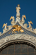 Venice lion and other statues on Saint Mark's Basilica, Venice