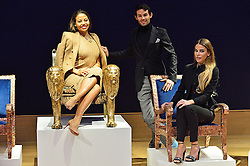 © Licensed to London News Pictures. 29/02/2016. , ENMMA, VISCOUNT WEYMOUTH, MARK-FRANCIS VANDELLI and VICTORIA BAKER-HARBER attend the Bonham's Chair Auction for Chiva African Aids Charity. They etched designed chairs for the auction . London, UK. Photo credit: Ray Tang/LNP