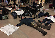 Lying Protest<br /> <br /> Protestors lying on street to protest about unfair treatment of black people in New York, America on 08th December, 2014.<br /> ©Exclusivepix Media