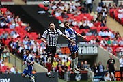 Grimsby Town's Gregor Robertson& Bristol Rovers Matt Taylor during the Vanarama Conference Final between Bristol Rovers FC and Grimsby Town FC at Wembley Stadium, London, England on 17 May 2015. Photo by Shane Healey.