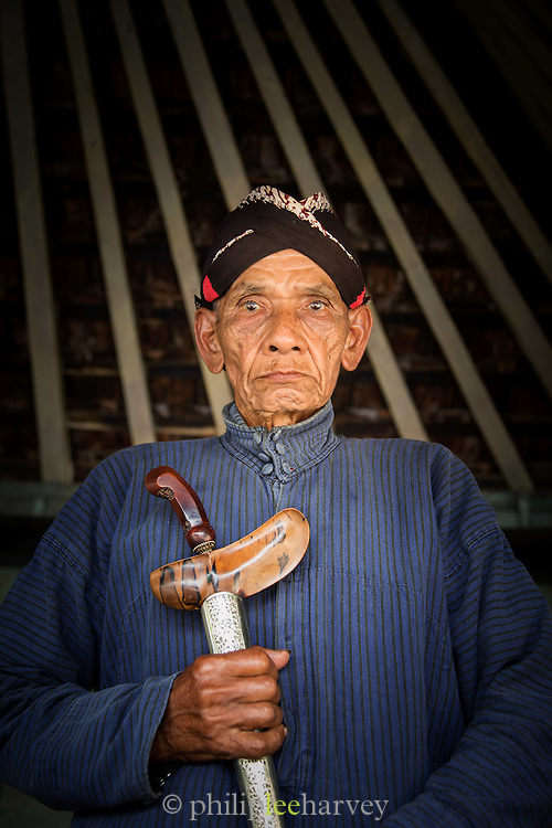 Portrait of Imperial guard holding sword, Kraton of Yogyakarta, Yogyakarta, Yogyakarta Special Region, Java, Indonesia, Southeast Asia