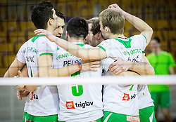 Players of Panvita celebrate during volleyball game between OK ACH Volley and OK Panvita Pomgrad in 1st final match of Slovenian National Championship 2013/14, on April 6, 2014 in Arena Tivoli, Ljubljana, Slovenia. Photo by Vid Ponikvar / Sportida