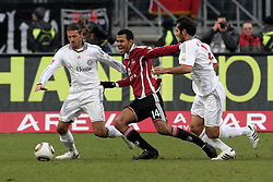 20.02.2010, EasyCredit Stadion, Nürnberg, GER, 1. FBL, 1. FC Nuernberg vs FC Bayern Muenchen, Saison 09 10, im Bild Dreikampf zwischen Martin Demichelis (Bayern #6), Eric Maxim Choupo-Moting (FCN #14) und Hamit Altintop (Bayern #8). EXPA Pictures © 2010 for Austria, Italy and GBR only, Photographer EXPA / NPH  / Becher / for Slovenia SPORTIDA PHOTO AGENCY.