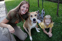 Irena Avbelj, several times World Champion in Freefall Style and Accuracy Landing and in Para-ski at home with her daughter and dog, on September 13, 2005, in Ljubljana, Slovenia. (Photo by Vid Ponikvar / Sportal Images)