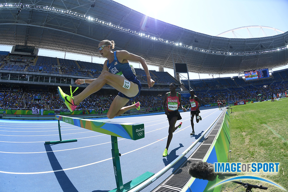 Aug 17, 2016; Rio de Janeiro, Brazil; Evan Jager (USA) during the men's 3000m steeplechase final in the Rio 2016 Summer Olympic Games at Estadio Olimpico Joao Havelange.