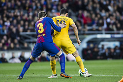 March 4, 2018 - Barcelona, Catalonia, Spain - 18 Costa from Spanish-Brazil of Atletico de Madrid defended by 03 Gerard Pique from Spain of FC Barcelona during La Liga match between FC Barcelona v Atletico de Madrid at Camp Nou Stadium in Barcelona on 04 of March, 2018. (Credit Image: © Xavier Bonilla/NurPhoto via ZUMA Press)