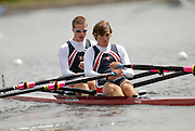 Motherwell, SCOTLAND. Sat Semi Finals,  USA BM2X, Bow Todd MICKELSON and James DONOVAN at the start, 2007 FISA U23 World Championship Regatta, Strathclyde Country Park, North Lanarkshire 28/07/2007 [Mandatory credit Peter Spurrier/ Intersport Images]