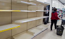 © Licensed to London News Pictures. 13/03/2020. London, UK. Wilko store in London runs out of toilet rolls amid an increased number of Coronavirus (COVID-19) cases in the UK. Major supermarkets have started to ration certain products after shoppers began to stockpile. 590 cases have been tested positive and ten patients have died from the virus in the UK. . Photo credit: Dinendra Haria/LNP