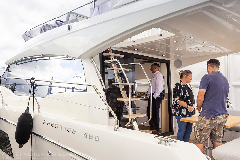 Prestige at the Southampton International Boat Show.<br /> Shot for Ancasta International.<br /> Picture date: Friday September 10, 2021.<br /> Photograph by Christopher Ison ©<br /> 07544044177<br /> chris@christopherison.com<br /> www.christopherison.com<br /> <br /> IMPORTANT NOTE REGARDING IMAGE LICENCING FOR THIS PHOTOGRAPH: This image is supplied to the client under the terms previously agree. No sales are permitted unless expressly agreed in writing by the photographer.