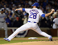 CHICAGO, IL - OCTOBER 22:  Kyle Hendricks #28 of the Chicago Cubs pitches during Game 6 of the NLCS against the Los Angeles Dodgers at Wrigley Field on Saturday, October 22, 2016 in Chicago, Illinois. (Photo by Ron Vesely/MLB Photos via Getty Images) *** Local Caption *** Kyle Hendricks