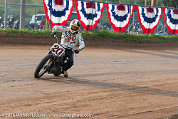 George Will in the Spirit of Sturgis antique motorcycle flat track race at the historic Sturgis Half Mile during the 78th annual Sturgis Motorcycle Rally. Sturgis, SD. USA. Monday August 6, 2018. Photography ©2018 Michael Lichter.