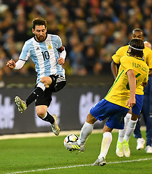 June 9, 2017 - Melbourne, Victoria, Australia - LIONEL MESSI (10) of Argentina jumps for the ball in an international friendly match between Brazil and Argentina at the Melbourne Cricket Ground on June 10, 2017 in Melbourne, Australia. Argentina won 1-0 (Credit Image: © Sydney Low via ZUMA Wire)