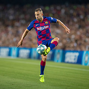 BARCELONA, SPAIN - August 25:  Jordi Alba #18 of Barcelona in action during the Barcelona V  Real Betis, La Liga regular season match at  Estadio Camp Nou on August 25th 2019 in Barcelona, Spain. (Photo by Tim Clayton/Corbis via Getty Images)