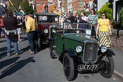 Vintage cars on show at the annual Michaelmas Fair in the small market town of Bishops Castle, England, United Kingdom.