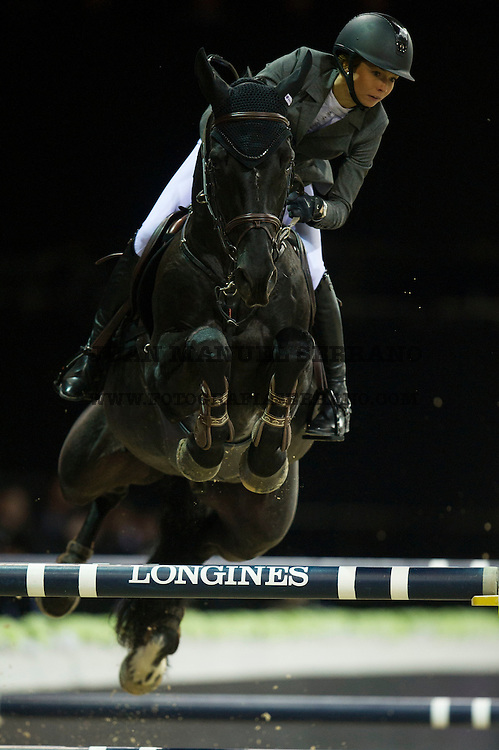 Anna-Julia Kontio on Pacific des Essarts competes during Hong Kong Jockey Club Trophy at the Longines Masters of Hong Kong on 19 February 2016 at the Asia World Expo in Hong Kong, China. Photo by Juan Manuel Serrano / Power Sport Images
