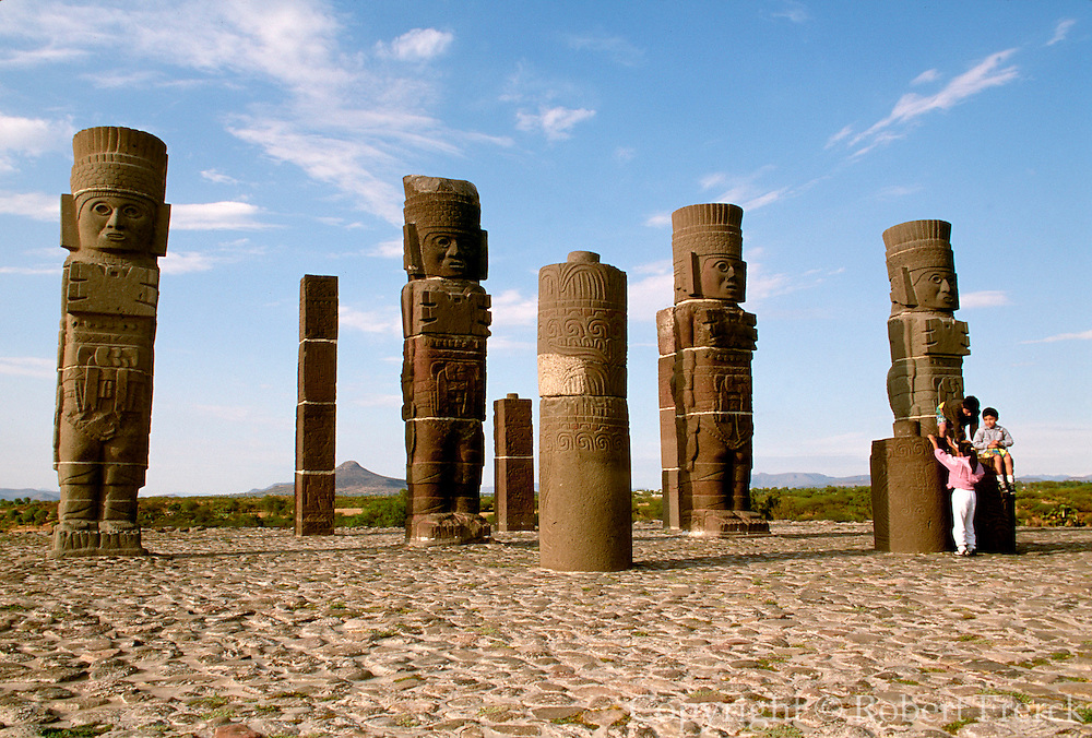 "MEXICO, TOLTEC, HIDALGO TULA; Warrior columns""Atlantes"""