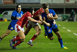 Michael Mba of Italy is tackled by Aneurin Owen of Wales <br /> <br /> Photographer Craig Thomas/Replay Images<br /> <br /> U20 Six Nations - Wales v Italy  - Friday 31st January 2020 - Stadiwm Zip World (Parc Eirias) - Colwyn Bay<br /> <br /> World Copyright © Replay Images . All rights reserved. info@replayimages.co.uk - http://replayimages.co.uk