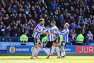 Sheffield Wednesday striker Gary Hooper (14) is congratulated by Sheffield Wednesday striker Atdhe Nuhiu (9) after this third goal 3-0 during the Sky Bet Championship match between Sheffield Wednesday and Cardiff City at Hillsborough, Sheffield, England on 30 April 2016. Photo by Phil Duncan.
