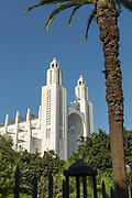 Low angle view of art deco Casablanca Cathedral and palm tree, Casablanca, Morocco