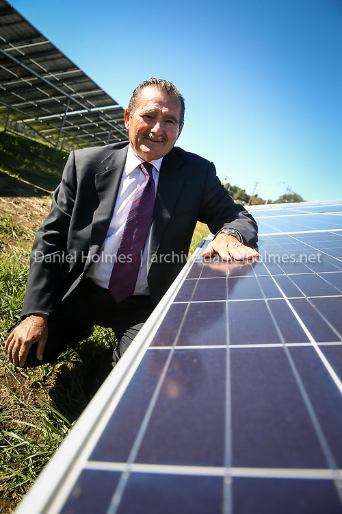(10/6/15, FRAMINGHAM, MA) Ameresco CEO, George Sakellaris shows one of their recent solar installations in Framingham on Tuesday. Daily News and Wicked Local Photo/Dan Holmes