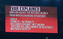 October 31, 2018 - London, England, United Kingdom - London, UK, 31 October, 2018.An explanation of the Video Assistant Referee (VAR) system is shown on the giant screen.During Carabao Cup fourth Round between Arsenal and Blackpool at Emirates stadium , London, England on 31 Oct 2018. (Credit Image: © Action Foto Sport/NurPhoto via ZUMA Press)