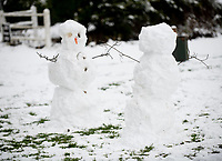 social distancing Snowmen in Stratton Audley Oxfordshire photo by Brian Jordan ,24th jan 2021